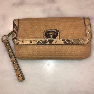 Coach Rare Natalie Straw Python Studded Clutch Bag